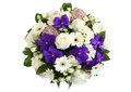 Bouquet of white roses white gerbera daisies and violet orchid round three garden flowers cream colored orchids view from above Stock Photo