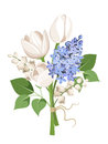 Bouquet of white tulips, blue lilac flowers and lily of the valley. Vector illustration.