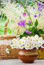 Bouquet of wild flowers in a pot the table at Stock Image