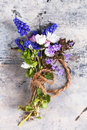 Bouquet of wildflowers over old metal background Royalty Free Stock Images