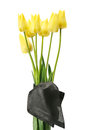 Bouquet of yellow flowers for a funeral isolated on white background Royalty Free Stock Image