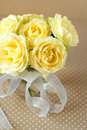 Bouquet yellow roses dots background Royalty Free Stock Photo