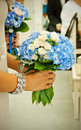 Bouquets with dark blue violets Royalty Free Stock Photo