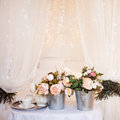 Bouquets of flowers in the bedroom, interior decor Royalty Free Stock Photo