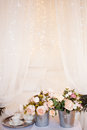 Bouquets of flowers in the bedroom, interior decor, romantic setting Royalty Free Stock Photo