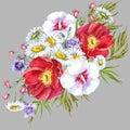 Bouquets meadow flowers , watercolor