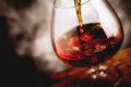 Bourbon glass - tilt shift selective focus Royalty Free Stock Photo