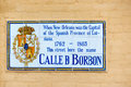 Bourbon street name sign while under spanish possession in new orleans a commemorating the original borbon of rule Stock Photo