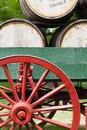 Bourbon wagon fragment of an antique with barrels Royalty Free Stock Photo