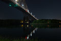 Bourne Bridge From Below At Night Royalty Free Stock Photo