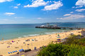 Bournemouth beach dorset overlooking and pier england uk europe Royalty Free Stock Photography