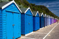 Bournemouth beach huts colourful wooden at on the south coast of england uk europe Stock Image