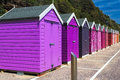 Bournemouth beach huts colourful wooden at on the south coast of england uk europe Royalty Free Stock Photo