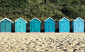 Bournemouth beach huts at dorset uk Royalty Free Stock Images