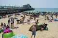 Bournemouth beach in july during a prolonged period of fine weather in the united kingdom Stock Photo