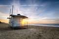 Bournemouth beach a lifeguard hut on at sunrise at durley chine on in dorset Royalty Free Stock Photography