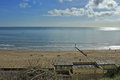 Bournemouth beach wide shot of on a lovely sunny day Royalty Free Stock Photography