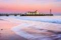 Bournemouth pier sunset at from beach dorset england uk europe Stock Photos