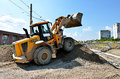 Bouteur de caterpillar sur le chantier de construction Photo stock