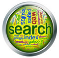 Bouton brillant de wordcloud de Search Engine Photographie stock