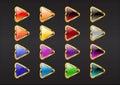 Boutons de flèche de triangle Photos stock