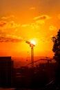 Bouw op zonsondergang