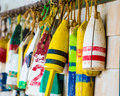 Bouys on a wall bright colorful hanging Royalty Free Stock Image