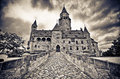 Bouzov castle with dramatic sky in czech republic Stock Image
