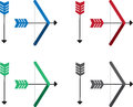 Bow and arrow colors different colored arrows bows Stock Photography