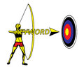 Bow and arrow keyword to success illustration shooting a golden aiming firing on target Stock Images