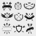 Bow arrow labels and elements set. Vector Royalty Free Stock Photo
