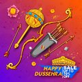 Bow and arrow of Lord Rama and ten headed Ravana for Happy Dussehra Navratri sale promotion festival of India