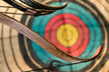 Bow arrows and target Stock Image