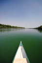 Bow of a canoe on the river Sava, Serbia Royalty Free Stock Photo
