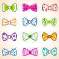 Bow color illustration set of colorful tie in different colors Stock Photo