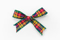 Bow colorful tartan cloth photograph has clipping path Royalty Free Stock Image