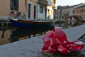 Bow detail on a river in comacchio italy Royalty Free Stock Photo