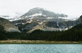 Bow glacier falls canada with and lake in the canadian rockies banff national park Royalty Free Stock Image