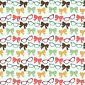 Bow and glasses cute love seamless pattern with bows ribbons in vector Stock Photography