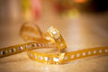Bow. Golden satin gift bow. Ribbon. Christmas Royalty Free Stock Photo