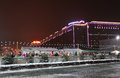 Bow hill skating rink moscow by night on poklonnaya russia january Royalty Free Stock Photography