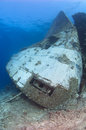 Bow of a large underwater shipwreck Royalty Free Stock Photos