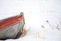 Bow Of Metal Canoe In Deep Snow