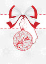 Bow with ornamental Christmas ball. Holiday card Royalty Free Stock Image