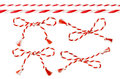Bow of Red White String, Twine Rope Decoration, Twisted Thread Royalty Free Stock Photo