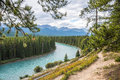 Bow river rocky mountains canada turquoise winding through pine forest in canadian rockies banff national park alberta copy space Stock Image