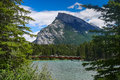 Bow River running around and through Banff with Mount Norquay in Royalty Free Stock Photo