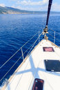 Bow of sailing boat yacht with blue sea Royalty Free Stock Photos