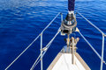 Bow of sailing boat yacht with blue sea Royalty Free Stock Images