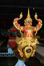 Bow sculpture antique barge of king Rama IX `Krut Hern Het` in the Museum of the Royal Barges. Bangkok, Thailand